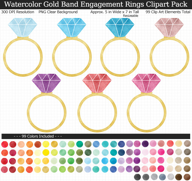Rainbow Watercolor Wedding Engagement Rings Clipart Pack - Gold Band - Clear Background PNG - Large 5 inches Wide x 7 inch Tall Resizeable - 99 Colors