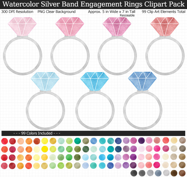 Rainbow Watercolor Wedding Engagement Rings Clipart Pack - Silver Band - Clear Background PNG - Large 5 inches Wide x 7 inch Tall Resizeable - 99 Colors