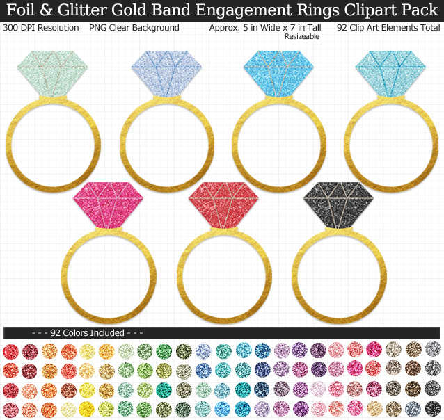 Gold Foil and Glitter Engagement Rings Clipart Pack