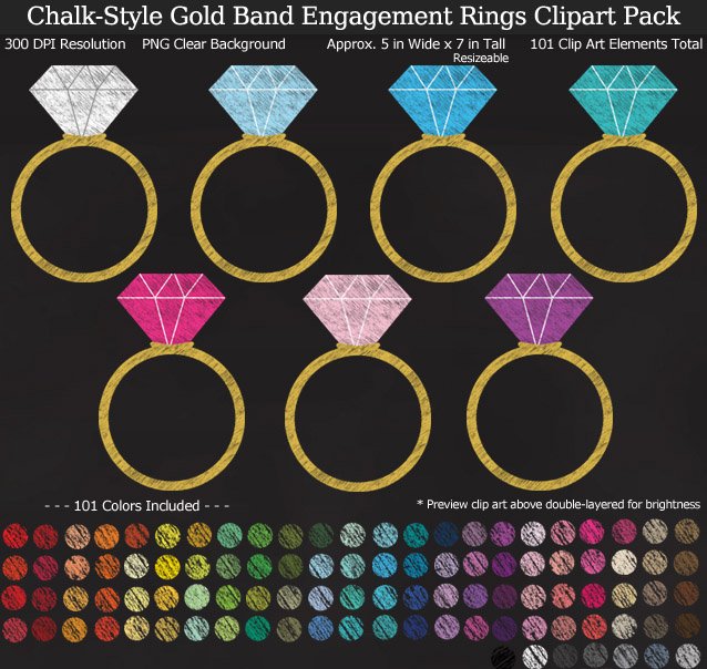 Rainbow Chalk Wedding Engagement Rings Clipart Pack - Gold Band - Clear Background PNG - Large 5 inches Wide x 7 inch Tall Resizeable - 101 Colors