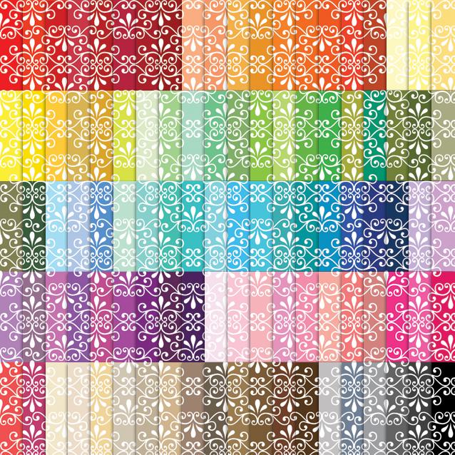 100 Colors Fancy Ornamental Digital Paper Pack