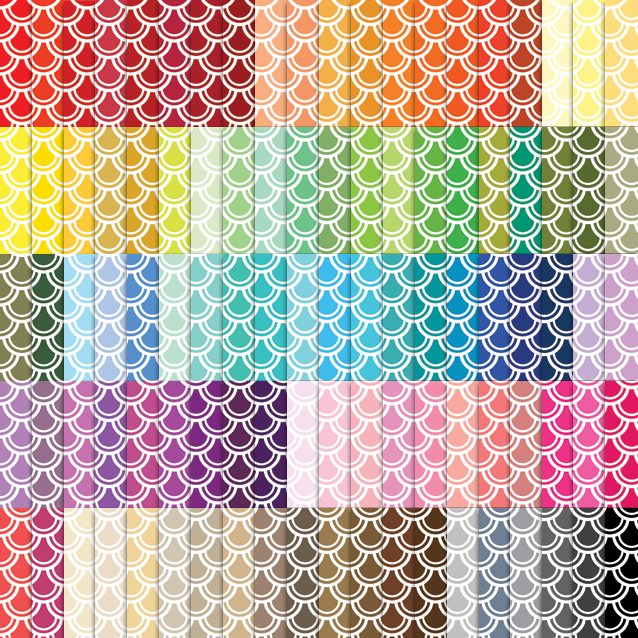 100 Colors Fish Scale Digital Paper Pack