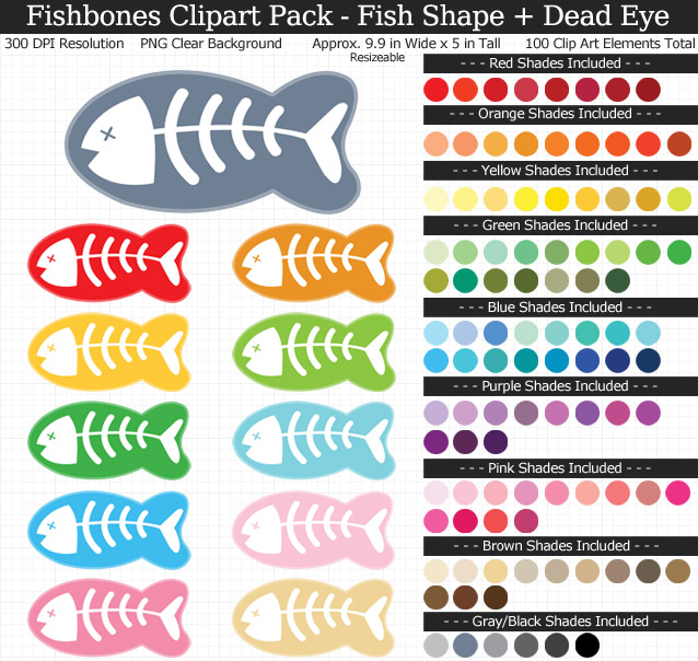 Rainbow Fishbone Clipart Pack - Clear Background PNG - Large 9 inches Wide x 4 inches Tall Resizeable - 100 Colors