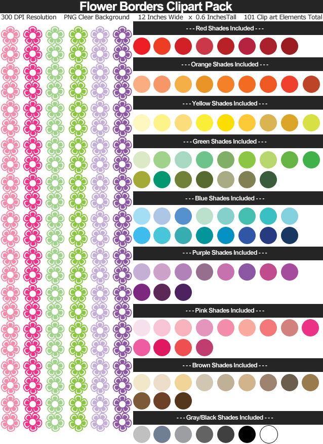 Rainbow Flower Borders Clipart Pack - Clear Background PNG - Large 12 inches Wide x 0.6 Inches Tall Resizeable - 101 Colors