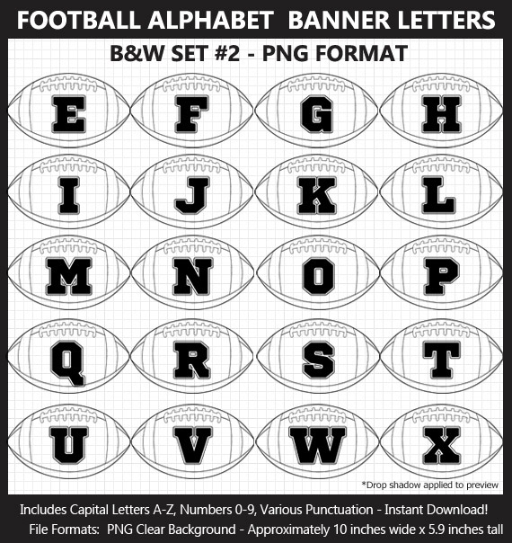 Love these awesome football alphabet clipart for birthday banners and Superbowl parties - Letters, Numbers, Punctuation