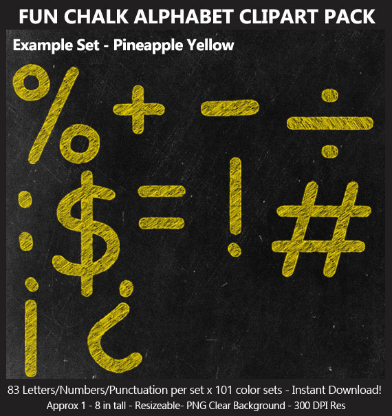 Love these cute fun chalk alphabet clip art for birthday banners and classroom decoration - Letters and Numbers Punctuation