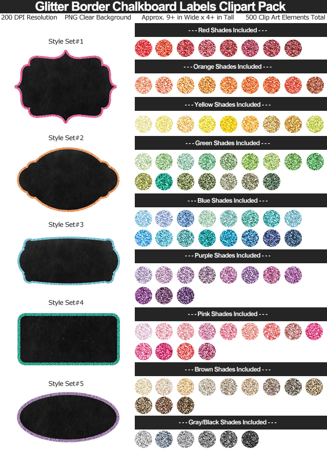 Glitter Border Chalkboard Label Clipart Pack - 5 Styles 101 Colors - Clear Background PNG - Large Resizeable