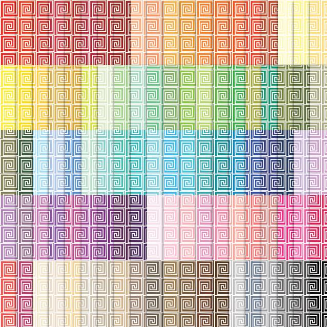 100 Colors Greek Key Digital Paper Pack
