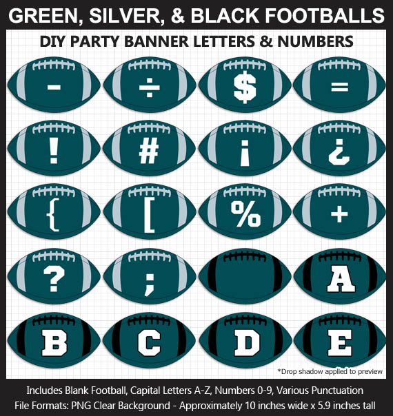 Love these fun Green, Silver, and Black Football clipart for game day decoration - Letters, Numbers, Punctuation - Go Eagles!