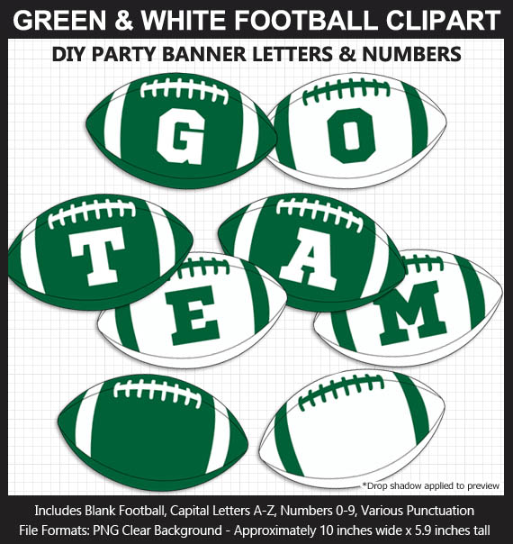 Love these fun Green and White Football clipart for game day decoration - Letters, Numbers, Punctuation - Go Jets!
