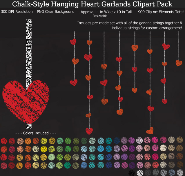 Rainbow Chalk Heart Garlands Clipart Pack - Clear Background PNG - Large 11 inches Wide x 10 nches Tall Resizeable - Valentine's Day and Weddings