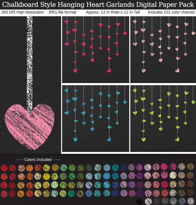 Rainbow Colors Chalkboard Hanging Heart Garlands Digital Paper Pack 12x12 inches - Valentine's Day - Weddings