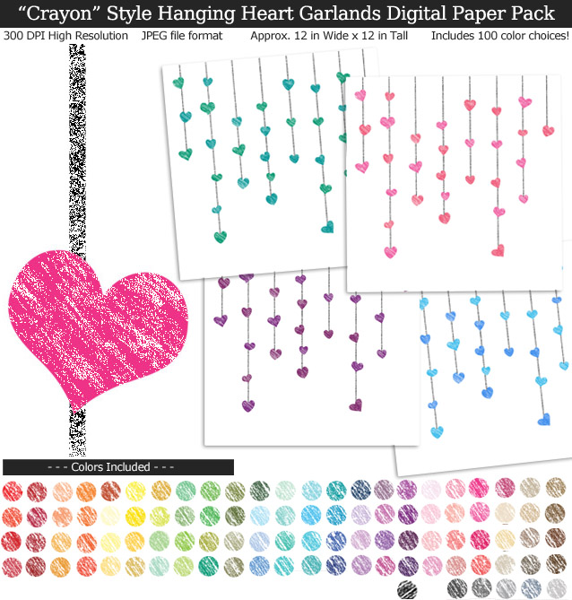 Rainbow Colors Crayon Hanging Heart Garlands Digital Paper Pack 12x12 inches - Valentine's Day - Weddings