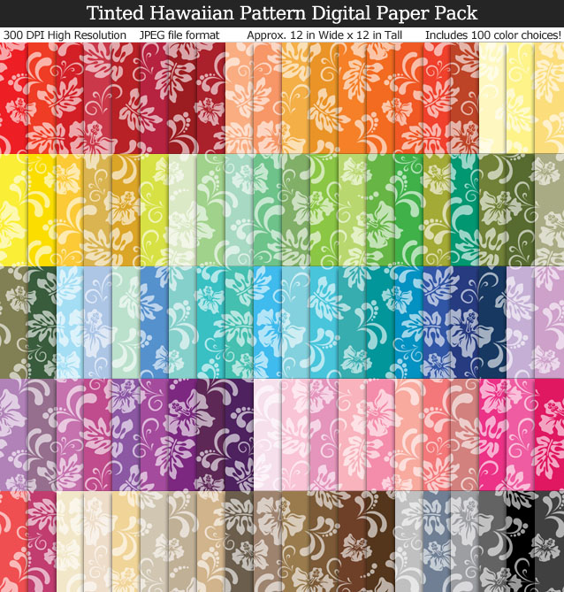 Love these cute Hawaiian pattern hibiscus digital papers for my scrapbooking and crafts!