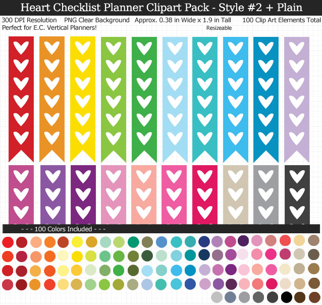 Love these rainbow heart checklist clipart for my Erin Condren vertical planner - 100 colors