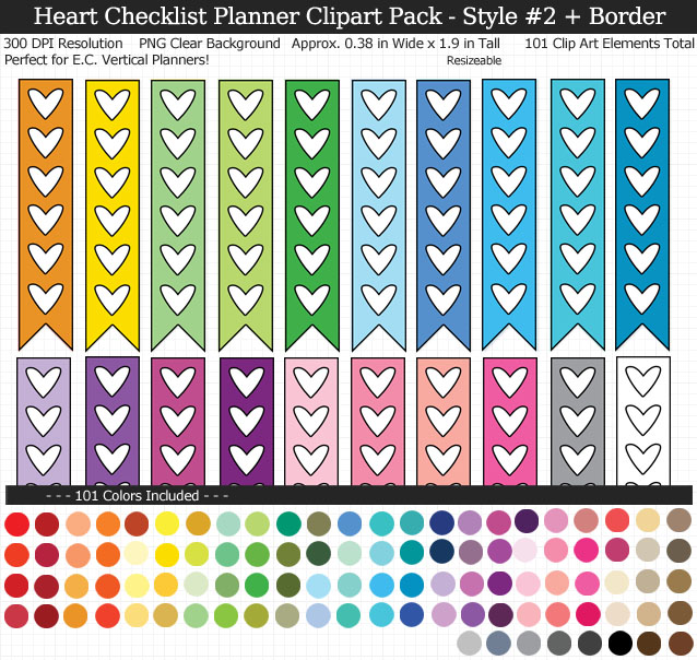 Love these rainbow heart checklist clipart for my Erin Condren vertical planner - 101 colors