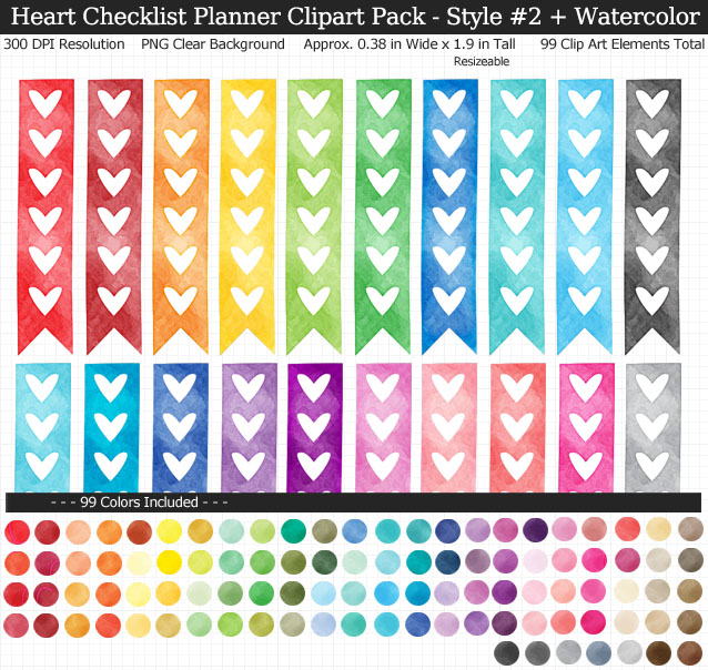 Love these rainbow watercolor heart checklist clipart for my Erin Condren vertical planner - 99 colors