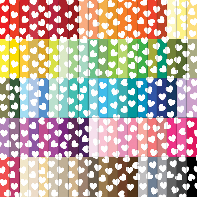 100 Colors Heart Confetti Digital Paper Pack