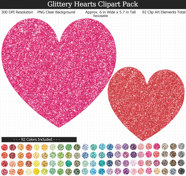 Glittery Hearts Clipart Pack