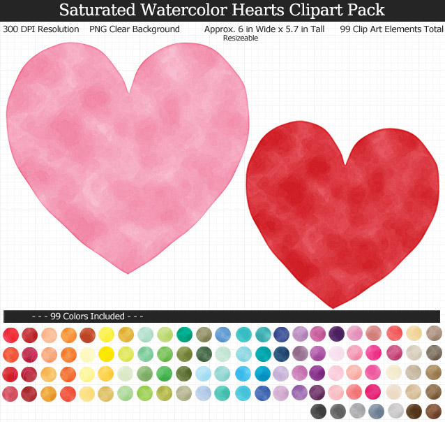 Rainbow Watercolor Hearts Clipart Pack - Clear Background PNG - Large 6 inches wide x 5.7 inches Tall Resizeable - 99 Colors