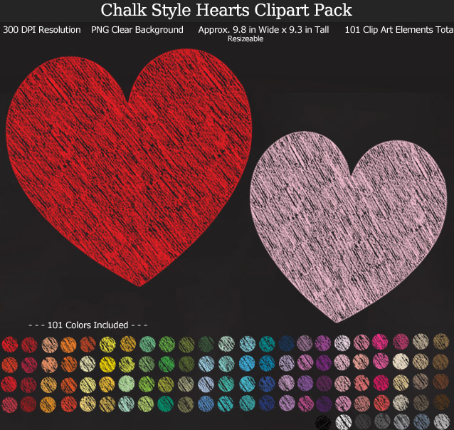 Rainbow Chalk Hearts Clipart Pack - Clear Background PNG - Large 9.8 inches wide x 9 inches Tall Resizeable - 101 Colors