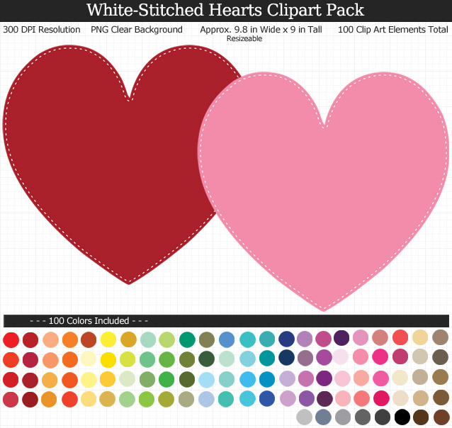 White-Stitched Hearts Clipart Pack