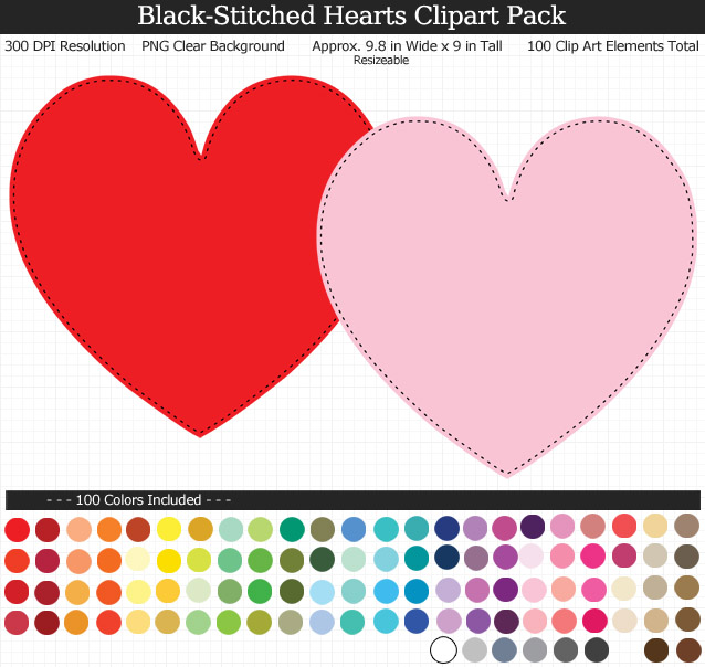 Rainbow Hearts Clipart Pack - Clear Background PNG - Large 9.8 inches wide x 9 inches Tall Resizeable - 100 Colors
