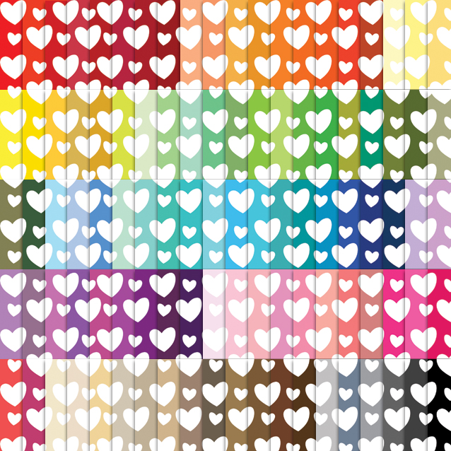 100 Colors Hearts Digital Paper Pack