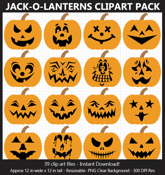 Jack-o-Lanterns Clipart Pack