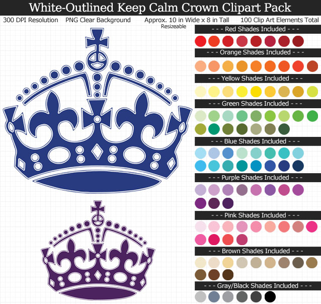 Rainbow Keep Calm Crown Clipart Pack - Clear Background PNG - Large 10 inches Wide x 8 inches Tall Resizeable - 100 Colors
