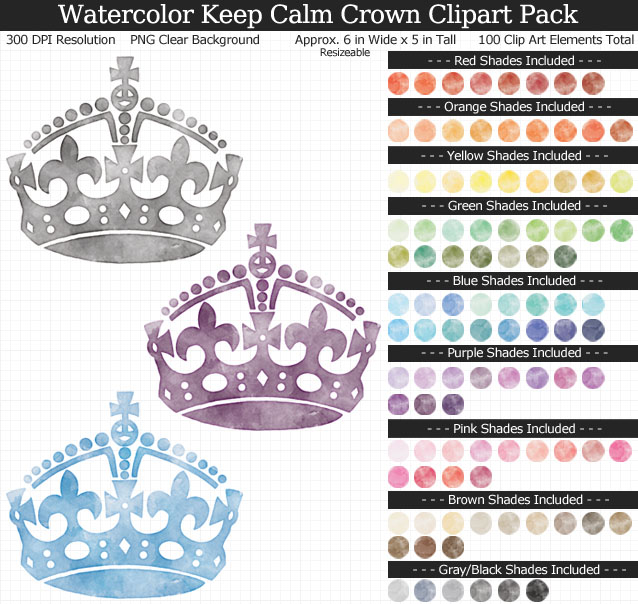Rainbow Watercolor Keep Calm Crown Clipart Pack - Clear Background PNG - Large 6 inches Wide x 5 inches Tall Resizeable - 100 Colors