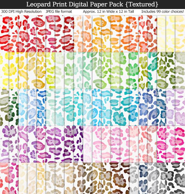 Textured Orange Leopard Print Digital Paper Pack - 100 Colors!