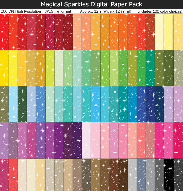 Love these fairytale magical sparkly digital papers! 100 colors 12x12 inches - Use for Scrapbook, Party Paper, Cards