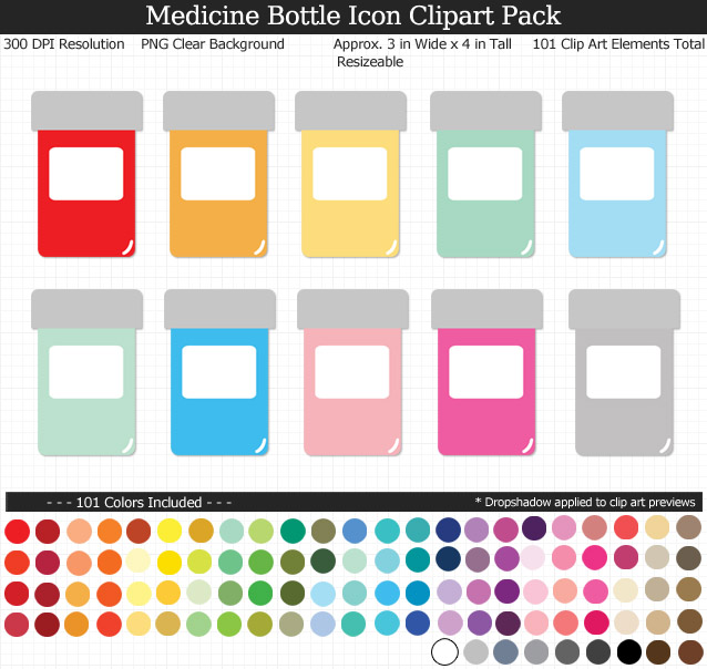Blank Label Medicine Bottle Icons Clipart Pack