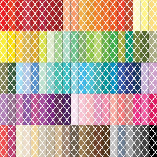 100 Colors Moroccan Tile Digital Paper Pack