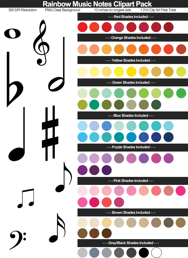 Rainbow Music Notes Clipart Pack - Clear Background PNG - Large 10 Inches Resizeable - 1,010 Files