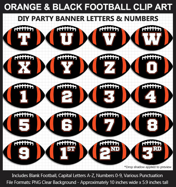 Love these fun Orange and Black Football clipart for game day decoration - Letters, Numbers, Punctuation - Go Bengals!