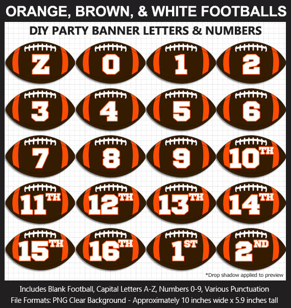 Love these fun Orange, Brown, and White Football clipart for game day decoration - Letters, Numbers, Punctuation - Go Browns!