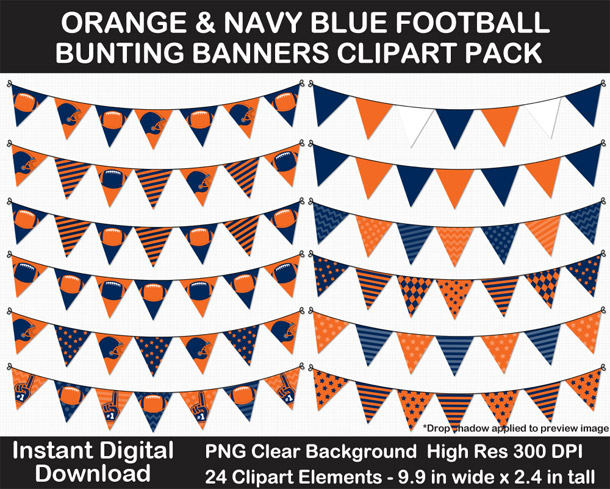 Love these fun orange and navy blue football bunting banner cut outs for decorating! Go Broncos!