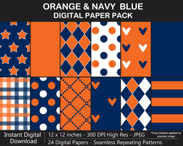 Love these fun orange and navy blue digital papers!