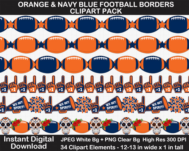 Love these fun orange and navy blue football borders. Go Broncos!