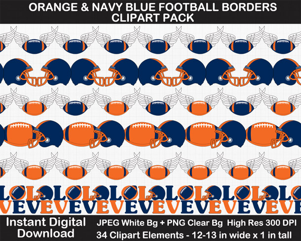 Love these fun orange and navy blue football borders. Go Broncos!