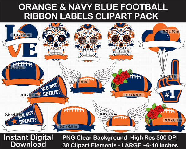 Love these fun Orange and Navy Blue Football Ribbon Labels - Go Broncos!