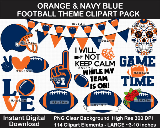 Love these fun football clipart! Go Broncos!