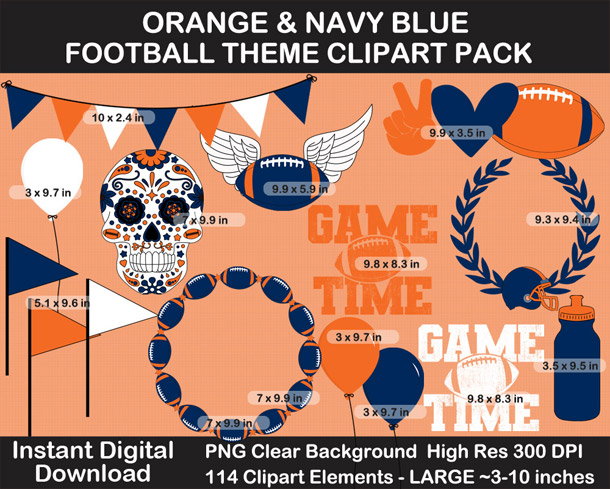 Love these fun Orange and Navy Blue Football Theme Clipart - Letters, Numbers, Punctuation - Go Broncos!