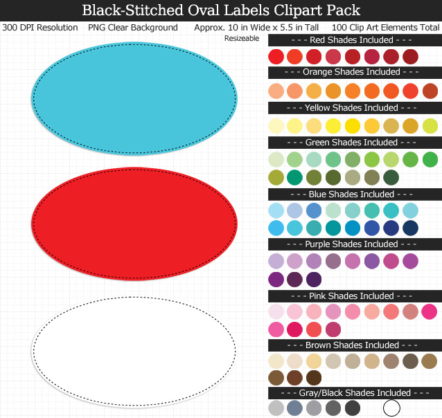 Love these rainbow oval labels clipart for my binders and planner. 100 colors!