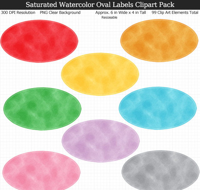 Love these rainbow watercolor oval labels clipart for my binders and planner. 99 colors!