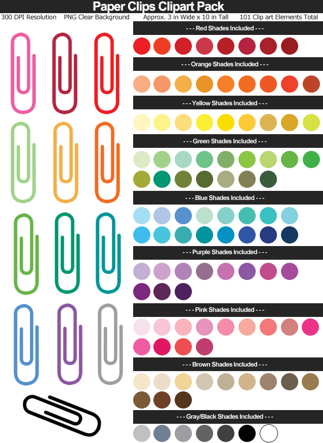 Rainbow Paper Clips Clipart Pack - Clear Background PNG - Large 3 inches Wide x 10 inches Tall Resizeable - 101 Colors