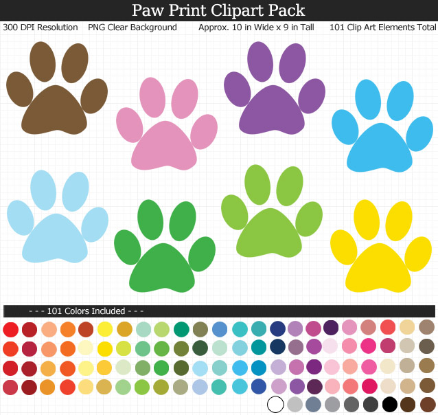 Rainbow Paw Print Clipart Pack - Clear Background PNG - Large 10 inches Wide x 9 inches Tall Resizeable - 101 Colors