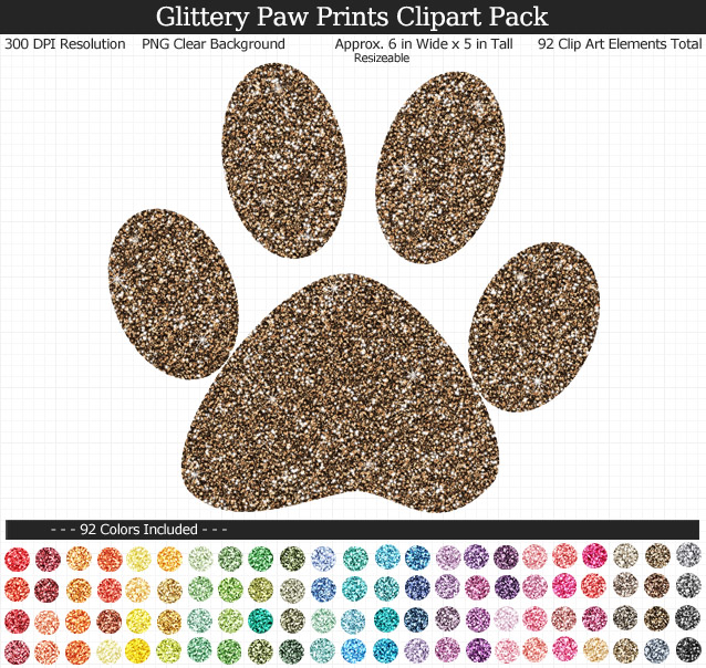 Rainbow Glitter Paw Print Clipart Pack - Clear Background PNG - Large 6 inches Wide x 5 inches Tall Resizeable - 92 Colors